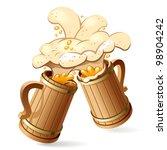 two wooden beer mugs with foam... | Shutterstock . vector #98904242