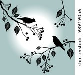 birds on the branch. summer... | Shutterstock .eps vector #98919056