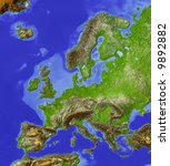 Europe. Shaded Relief Map  Wit...