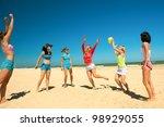 group of young joyful  girls...   Shutterstock . vector #98929055