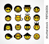 vector smiley faces. funny... | Shutterstock .eps vector #98936006