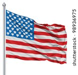 Usa National Flag Waving In Th...