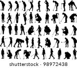 Vector Silhouette Of Woman Gol...