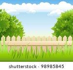 summer garden with tree  ...   Shutterstock . vector #98985845