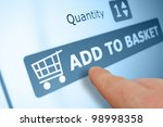 online shopping   finger... | Shutterstock . vector #98998358