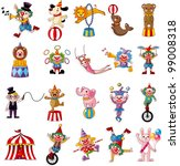 cartoon happy circus show icons ...