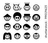 vector smiley faces. funny... | Shutterstock .eps vector #99019625
