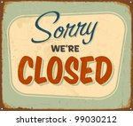 vintage tin sign   closed  ... | Shutterstock . vector #99030212