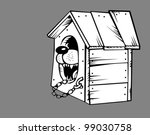 dog in kennel on gray... | Shutterstock .eps vector #99030758