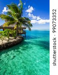 tropical villa and palm tree...   Shutterstock . vector #99073352