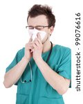 male doctor in green uniform with snotty, runny nose, white background - stock photo