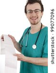yung cardiologist man reads cardiogram sick, white background - stock photo