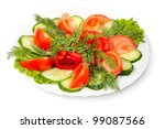 vegetable salad isolated on... | Shutterstock . vector #99087566
