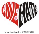 love hate heart | Shutterstock .eps vector #99087902