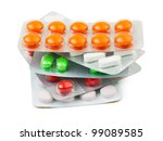 packs of pills isolated on... | Shutterstock . vector #99089585