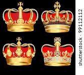 Illustration Set Gold  Crowns...
