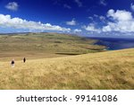 Hiking the ancient volcano on Easter Island in the South Pacific - stock photo