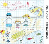 child drawing future summer... | Shutterstock .eps vector #99141782