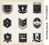 vector set of nine various golf ... | Shutterstock .eps vector #99153845