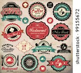 Stock vector collection of vintage retro grunge coffee and restaurant labels badges and icons 99155672