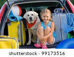 Summer holiday, Travel - family ready for the travel for summer vacation - stock photo