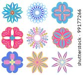 set of abstract flowers   Shutterstock .eps vector #99177266