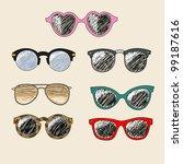 Set Of Cartoon Retro Sunglasses