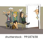 crazy people sit on the bench... | Shutterstock .eps vector #99187658