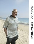 middle aged man at beach | Shutterstock . vector #99191942