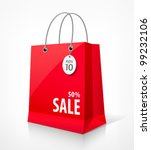 shopping paper red bag empty ... | Shutterstock .eps vector #99232106
