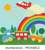 children background with  train ... | Shutterstock .eps vector #99240812