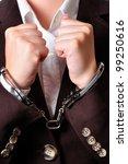 closeup of an handcuffed...   Shutterstock . vector #99250616