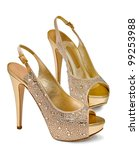 Gold Women's Shoes Isolated On...
