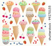 set of colorful ice creams | Shutterstock .eps vector #99270155