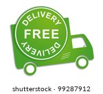 free delivery truck in green...