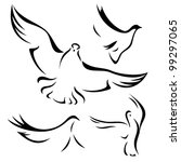 set of flying doves   black... | Shutterstock .eps vector #99297065