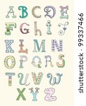 Doodle Hand Drawn Alphabet In...
