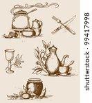 set of vector hand drawn...   Shutterstock .eps vector #99417998
