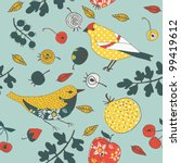 fruit garden with birds pattern | Shutterstock .eps vector #99419612