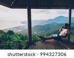 hipster gut traveler working... | Shutterstock . vector #994327306