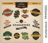Stock vector premium quality labels collection of retro bi colours vintage labels with several slogans best 99495002