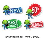 Alien Character Selling Stickers - stock vector