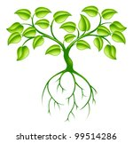 Green tree graphic design concept with long roots - stock vector