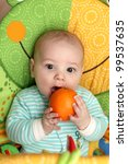 a child biting orange in seesaw ... | Shutterstock . vector #99537635