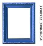 The blue photo frame isolated...
