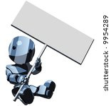 A Glossy Blue Robot Holding A...