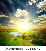 Beautiful Sunny Landscape With...