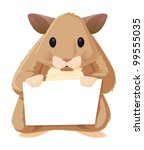 pet hamster with a blank sign...   Shutterstock .eps vector #99555035