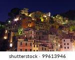 buildings of Riomaggiore, Italy at night - stock photo
