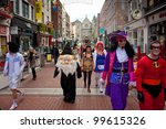 DUBLIN - OCTOBER 28: A group of partygoers dressed up on their way to a Fancy Dress Party to kick off Halloween on October 28, 2011 in Dublin - stock photo